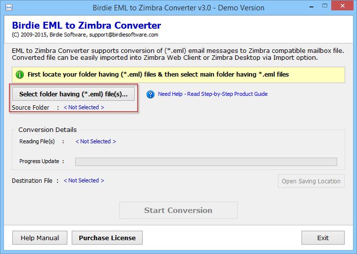 EML files to Zimbra conversion full screenshot